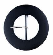 Large Coat Buckle - Black, Round, 50mm (1)